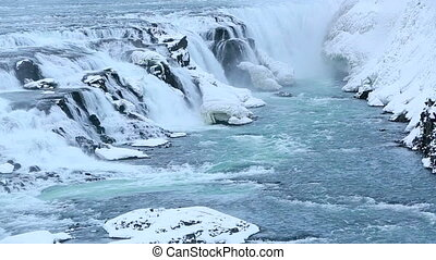 Waterfall Gullfoss in winter - Waterfall Gullfoss in Iceland...