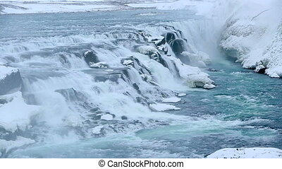 Waterfall Gullfoss in wintertime - Waterfall Gullfoss in...