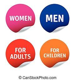 Set of vector stickers WOMEN, MEN, ADULTS, CHILDREN