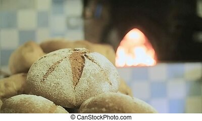 Bread baked in wood oven - baking bread in wood oven slow...