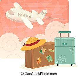 Air Travel - Air travel clip art of suitcases in front of a...