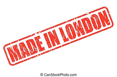 MADE IN LONDON red stamp text on white