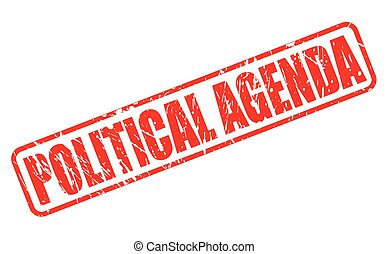 POLITICAL AGENDA red stamp text on white