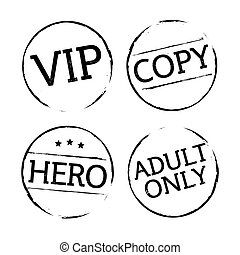 Black vector grunge stamps VIP, ADULT ONLY, HERO, COPY -...
