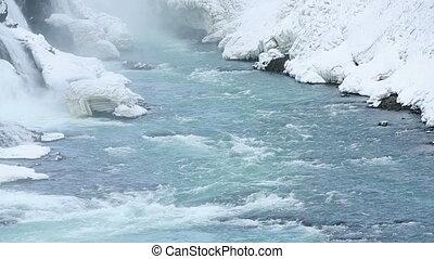 Waterfall Gullfoss in winter - Waterfall Gullfoss in Iceland...