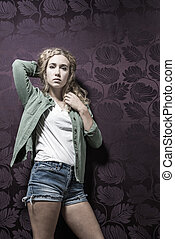 Young American Blonde Female Fashion - Young fahsionable...