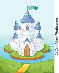 Magic Castle - Illustration of magic princess castle on the...