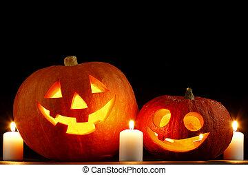Halloween pumpkin with candles - Halloween pumpkins...