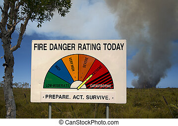 Fire Danger Rating Display with bushfire in background