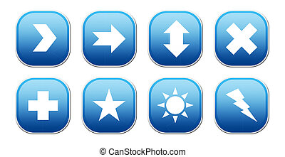 Blue Icons - Mathematics blue icons over white background...
