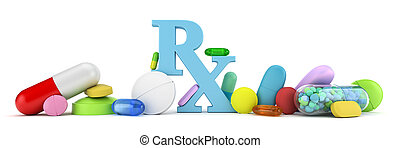 Prescription drugs - Variety of colorful prescription drugs