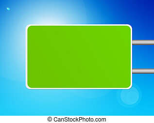 green rectangle over blue and white background