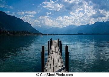 Old boat dock near Ch?teau de Chillon Switzerland