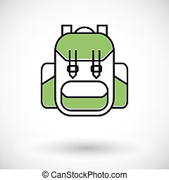 Rucksack Single flat color icon on the white backgroud...