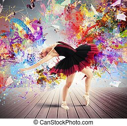 Creative colourful dancer - Classical dancer posing between...