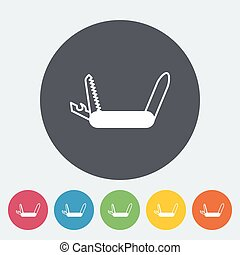 Knife icon - Knife Single flat icon on the circle Vector...