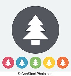 Conifer. Single flat icon on the circle button. Vector...