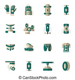 Flat simple vector icons for longboarding - Colorful flat...