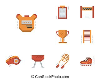 Flat simple vector icons for physical education - Colorful...