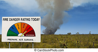 Bush fire danger - Fire Danger Rating Display Board set to...