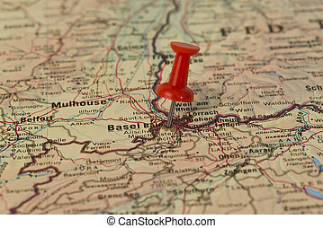 Basel Marked With Red Pushpin on Map - Basel also known as...