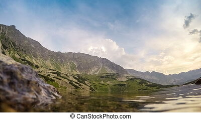 Beautiful pond in Tatra mountains with helicopter
