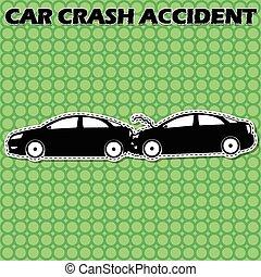 shape car icons, two cars back rear crashed