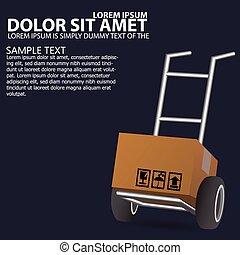 Dolly, wheelbarrow for transportation of cargo, web icon....