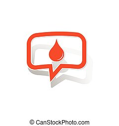 Water drop message sticker, orange