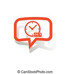 Overnight daily message sticker, orange chat bubble with...