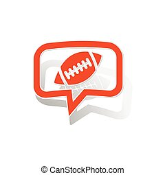 Rugby message sticker, orange chat bubble with image inside,...