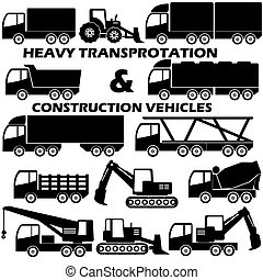 shape heavy transportation and construction vehicle icons