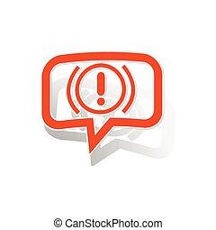 Alert sign message sticker, orange