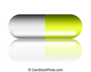 Capsule - Green capsule over white background