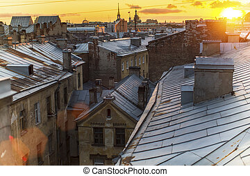 Rooftops historic center St Petersburg during amazing sunset...