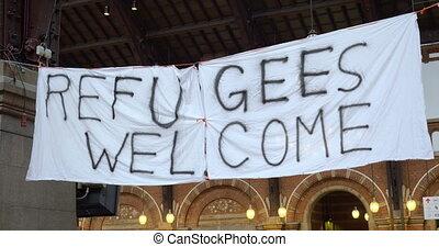 Handmade Banner Refugees Welcome - Handmade banner Refugees...