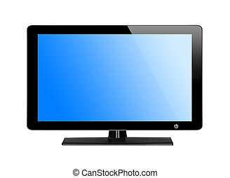 Modern TV screen with blue screen isolated on white...