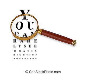 Humorous Eyetest Chart with Magnifying Glass - Magnifying...