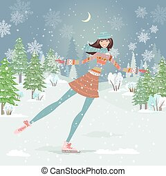Cute girl skating in winter forest