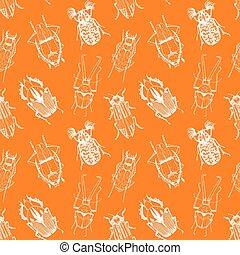 Nice beetles vector pattern