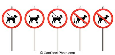 Dogs On Leads Muzzle Dirt Mandatory - Mandatory signs...