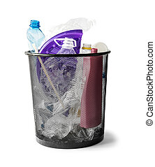 basket with plastic waste isolated on white background