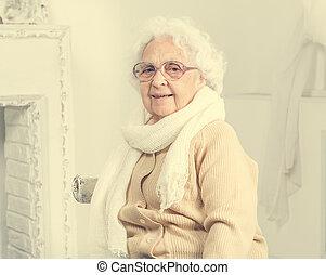 elderly woman portrait in interior