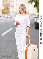 Nice woman standing near road - Busy life Nice cheerful...