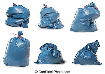 Collection of Blue Rubbish Bags on white - Collection of...