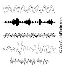 Set of Sound Wave Vector Illustration EPS10
