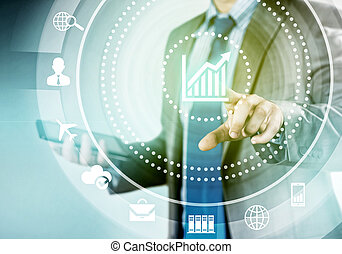 Man working with virtual panel - Close up of businessman...