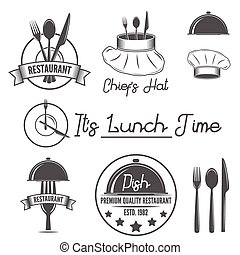 Set of badges and labels elements for restaurant or eatery -...