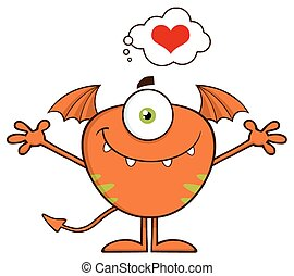 Cute Monster With A Heart