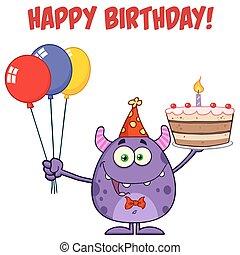 Monster Holding Birthday Cake